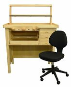 Deluxe Solid Wooden Jewelerand039s Work Bench Set With Organizer And Adjustable Chair