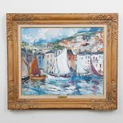 Signed Fernand Herbo Oil Painting Boats French Impressionist Framed 34 X 29.5