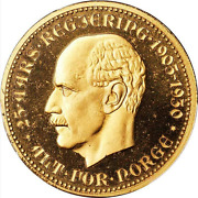 1930 Norway Haakon Vii Brass 25th Anniversary Of Independence Medal Pcgs Sp-67