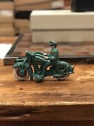 Hubley Cast Iron Officer Motorcycle Toys Replica Reproduction - Green