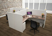 5x5 Cubicles- 51andprime H- 2 Man Back-to-back L Shape Fully Fabric Workstations- U