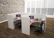 5x5 Cubicles-51″ H- 2 Man Double L Shape Fully Fabric Office Workstations-u