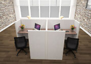 5x5 Cubicles -54andprime H- 2 Man Back-to-back Fully Fabric Office Workstations-u