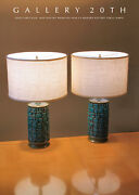 Wow Pair Mid Century Calif Modern Pottery Atomic Blue Table Lamps Vtg 50s 60s