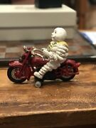 Hubley Cast Iron Michelin Man Motorcycle Toy Cast Iron Toy Reproduction Replica