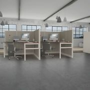 6x6 Cubicles-54″ H- 2 Man Double L Shape Fully Fabric Office Workstations-e