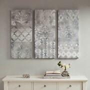 Luxury 3pc Watercolor Ikat Grey And Taupe Gel Coat Canvas Wall Art - 15x35 Each