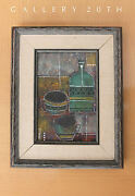 Rare Mid Century Modern Abstract Oil Painting By Estrella Orig. Vtg Art 1950and039s