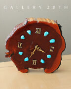 Cool Mid Century Lacquered Wood Clock Turquoise Modern Retro Vtg 1960s Atomic
