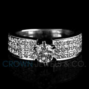 D Si1 Diamond Engagement Ring For Women 14k White Gold 2.00 Ct Round Cut