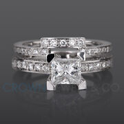 Marriage Diamond Ring Bridal Set Princess Cut F Si 2.00 Ct White Gold