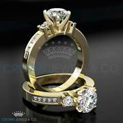 Ladies Diamond Engagement Ring D Si Accented Solitaire 1.65 Ct Round Cut
