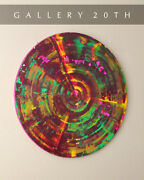 Sublime Danish Modern Orig Round Abstract Disc Oil Painting Pop Art Vtg Wall