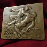 Antique 1923 Ottoman War Hero Athletic Medal Plaque Signed Sculpture Hungary