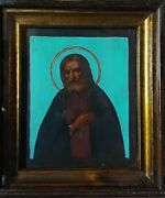 Antique 19c Hand Painted Russian Icon Of The Seraphim Sarovsky With Kiot