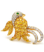 Solid 18k Yellow Gold Bird Brooch With Genuine Diamonds Citrine And Emerald 10.1g