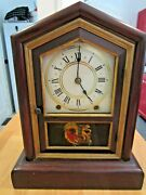 Seth Thomas 8 Day Spring Clock Wood Case Painted Glass Antique Mermaid 1800s