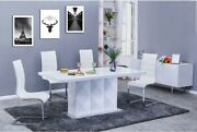 Dining Room Furniture White Finish Table And 4 Upholstered Side Chairs Metal Legs