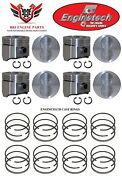 Ford 360 Fe V8 Enginetech Flat Top Pistons 8 With Rings 1968 - 76
