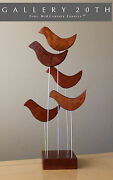 Epic Mid Century Modern Abstract Teak Sculpture Vtg 50and039s 60and039s Art Birds Retro