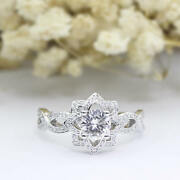 1ct Floral Round Cut Antique Moissanite Engagement Ring In 9ct White Gold