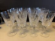 Antique Set Of 11 Waterford Lismore Crystal Glass Water Goblets