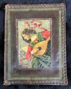 Rare Antique Large Leather Bible Cover Painting After Forli's Angel Playing Lute
