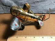 Vintage Marx   Roll Over 5 Plane 12   Tin Wind-up Stunt Toy   Good Condition