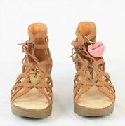Skechers Terrace Womens Lace-up Wedges Shoes Size 6m Tan New