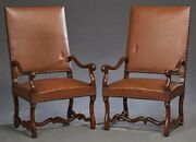 Antique French Walnut And Leather Fauteuils Armchairs Pair | Library Chairs