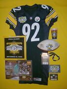 Steelers Jason Gildon 2000 Nike Team Issued Game Jersey And 3 Rivers Last Game Set