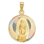14k Tri Tone Gold Dc Lady Of Guadalupe Stamp Religious Charm Pendant For Chain