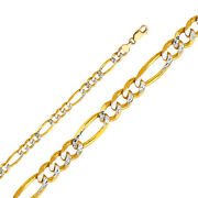 14k Yellow Solid Gold 6.9mm Figaro 3+1 White Pave Chain Necklace -lobster Clasp