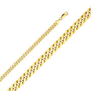 14k Yellow Solid Gold 6.3mm Flat Cuban Bevelled Chain Necklace Lobster Clasp
