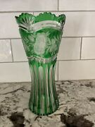 Vintage Lausitzer Bleikristall Lead Crystal Vase Cut Green To Clear Gdr Germany