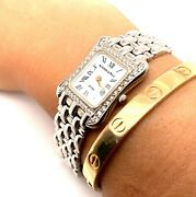 Ladies Austern And Paul 14k White Gold And 44 Diamonds Tank Style Watch