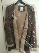 New Ron Herman Mouton Coat Leather Jacket Bespoke Products Size F Very Rare