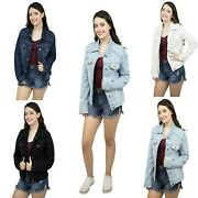 Womenand039s Basic Denim Jacket Button Down Long Sleeve Ladies Stretch Jean Jackets