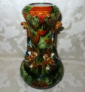 Large And Rare Asian Antique 1800and039s Beautifully Glazed Pottery Dragon Vase