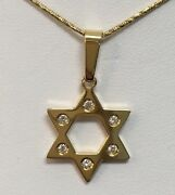 """18k Yellow Gold Star Of David Pendant 6dia .12ct G/vs Made In Italy 18"""""""