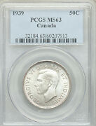 1939 Fifty Cents Pcgs Ms-63 Beautiful Early George Vi Better Date Canada Half