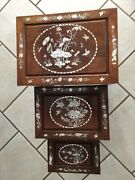 Antique Asian End Tables Inlay W/mother Of Pearl In Dark Wood Over 50 Yrs.andnbsp Andnbsp Andnbsp