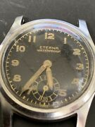 Eterna Small Second Black Dial Manual Winding Vintage Watch 1950and039s Overhauled
