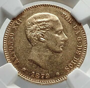 1879 Spain King Alfonso Xii Gold 25 Pesetas Antique Spanish Coin Ngc Au I79882