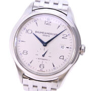 Baume And Mercier Clifton Small Second 65717 / Moa10099 Automatic Menand039s Ss [a0731]