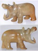 Carved Soap Stone Hippo Figurine Sculpture Mid Century India Label 2lbs