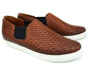 A88 Uk 6 New Mens Brown Woven Leather Slip On Summer Moccasins Lacuzzo Eu 400