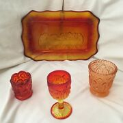 Vtg.amber/ruby Red Depression Glass Plate Of The Last Supper W/ 3 Glass Shot Set