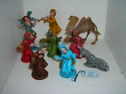 Lot Of 9 Fontanini By Roman Nativity Figures Camel Donkey Magi And Others 1978