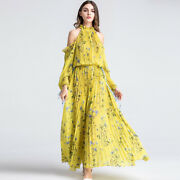 Womenand039s A-line Dress Elegant Floral Printed Pleated Cold Shoulder Long Sleeve